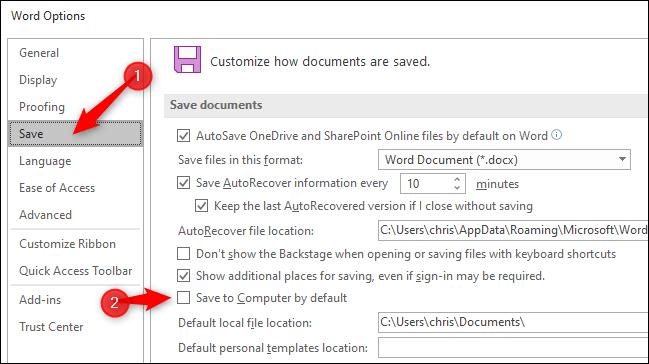 در زیر بخش Save documents، گزینه Save to Computer by default را با تیک دار کردن باکس کنار آن فعال نمائید.