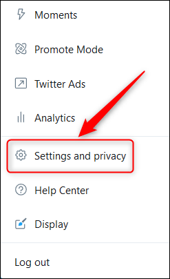 منوی Settings And Privacy یا تنظیمات و حریم خصوصی در توییتر