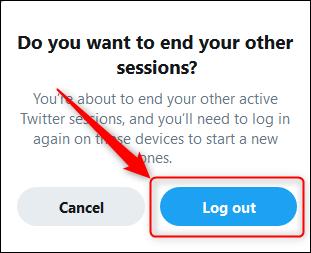 دکمه Log Out و تائید خروج از حساب توییتر در همه دستگاه ها