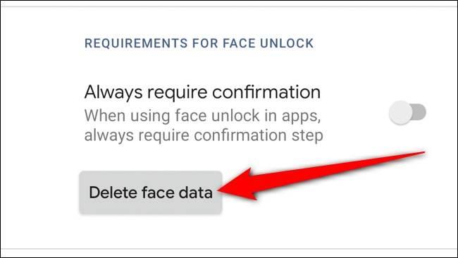 دکمه Delete Face Data
