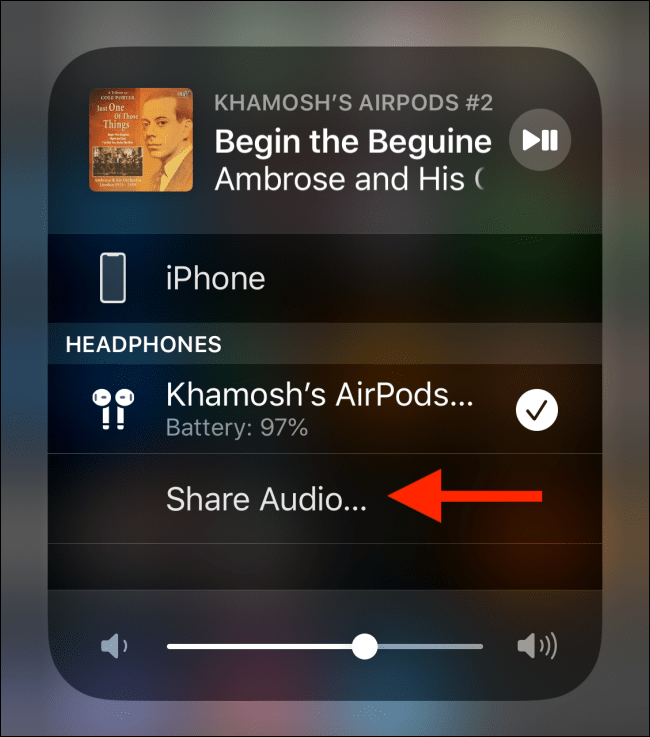 دکمه Share Audio را بتپید.