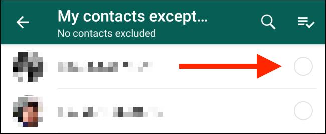 گزینه My Contacts Except یا مخاطبان من به جز در تنظیمات واتسپ