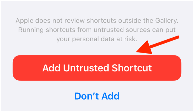 دکمه Add Untrusted Shortcut را بتپید