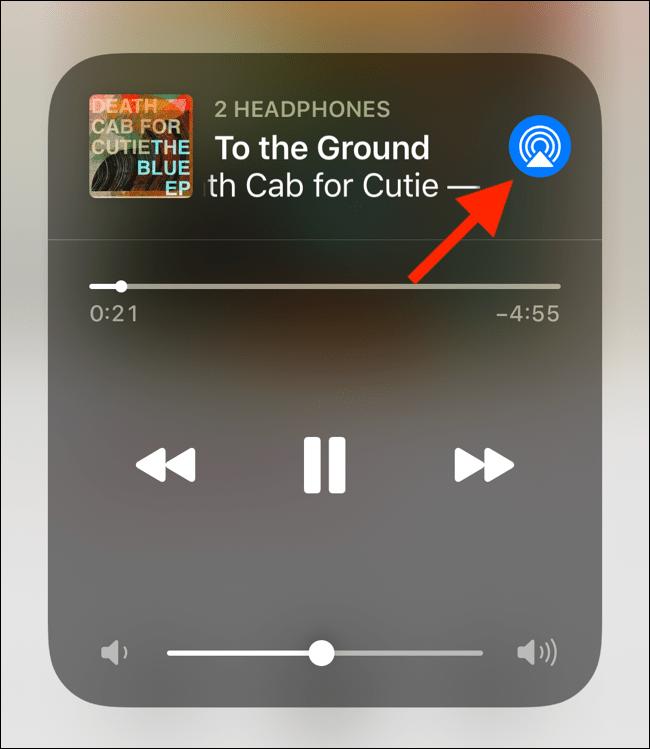 تپیدن دکمه AirPlay در آیفون و آیپد