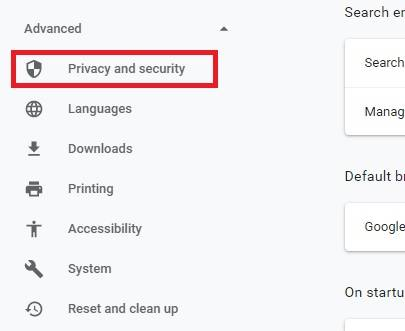باز کردن privacy and security گوگل کروم