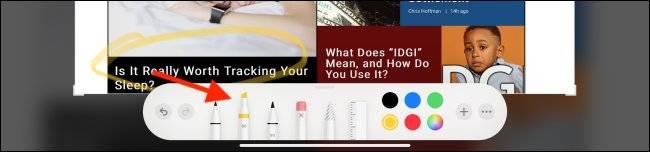 انتخاب مارکر برای ویرایش اسکرین شات در آیپد