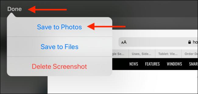ذخیره اسکرین شات در آیپد