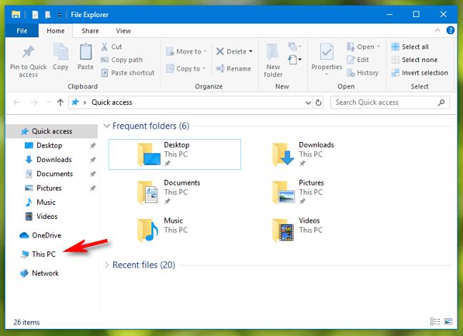 انتخاب This PC از ستون سمت چپ File Explorer