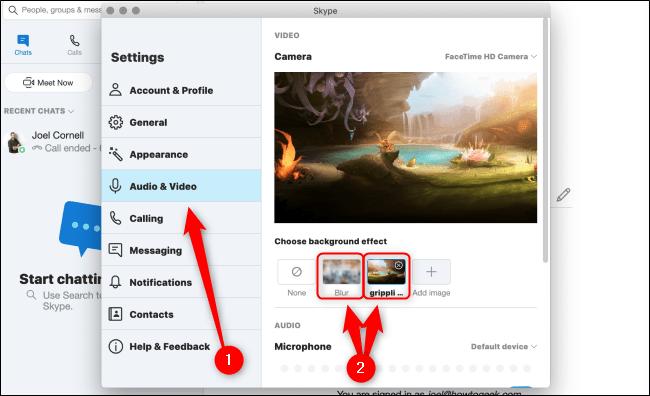 سفارشی سازی تصویر پس زمینه برای همه تماس های ویدئویی اسکایپ