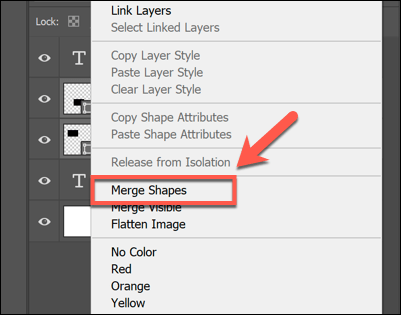 گزینه Merge Layers یا Merge Shapes