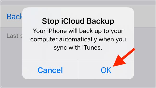 stop iCloud backup