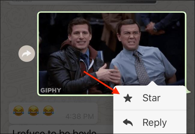 ستاره دار کردن GIF در واتساپ