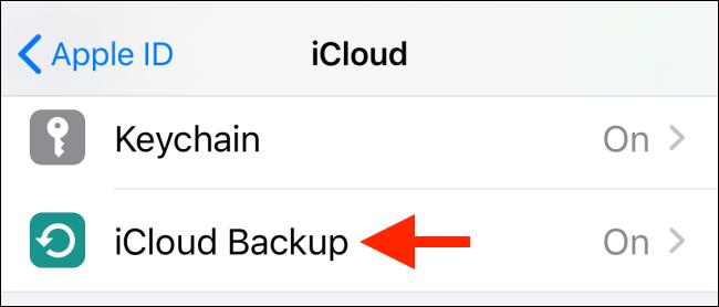 دکمه iCloud Backup را بتپید.