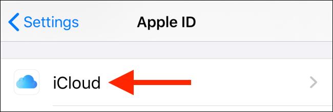 انتخاب گزینه iCloud