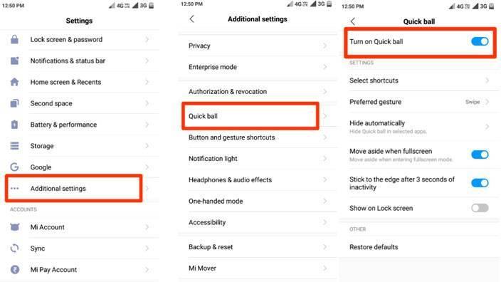 روش اسکرین شات گرفتن Redmi 8A شیائومی با شیوه های متفاوت | روش گرفتن اسکرین شات با استفاده از Quick Ball در ردمی 8A