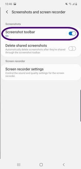 فعال کردن گزینه Screenshot toolbar