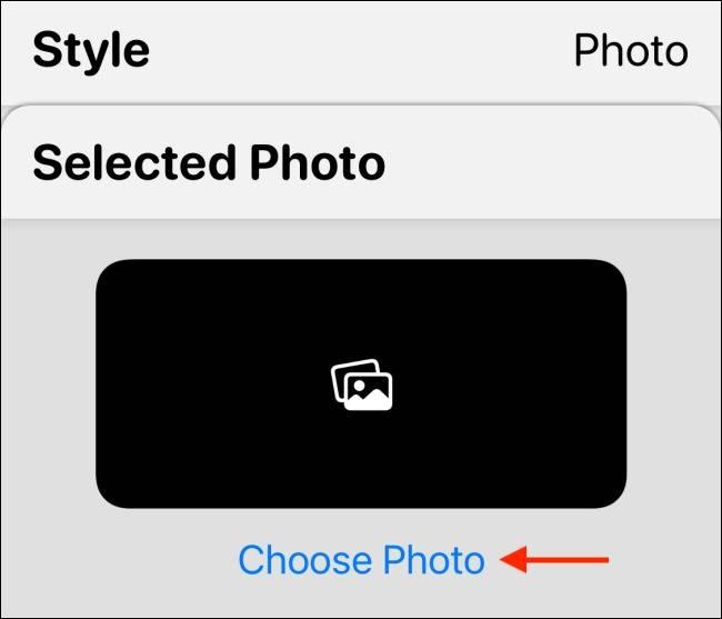 """گزینه """"Choose Photo"""" در برنامه widgetsmith"""