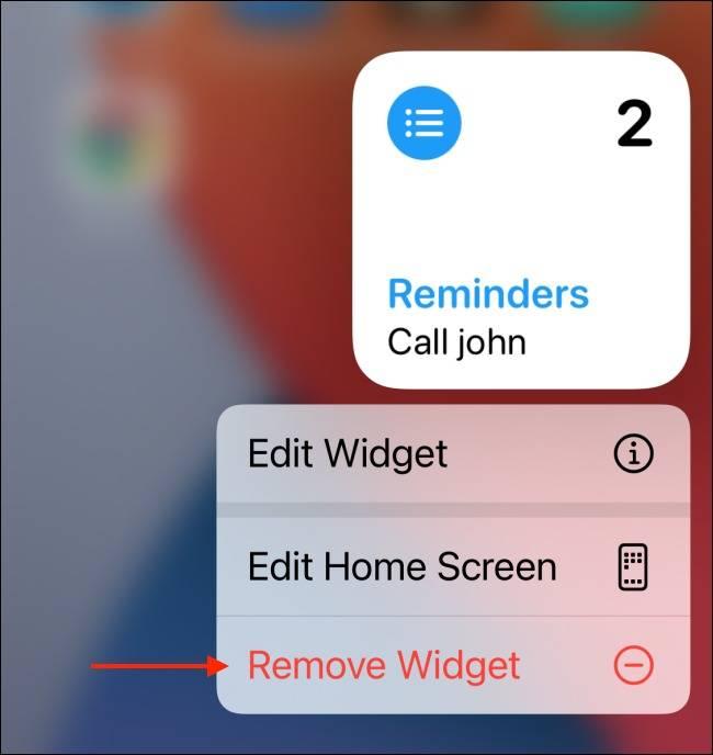 دکمه Remove widget آیفون
