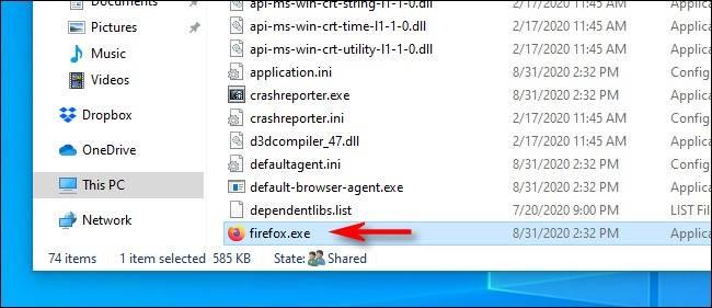 محل فایل EXE در File Explorer
