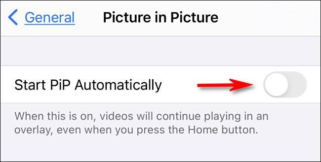 گزینه Start PiP Automatically