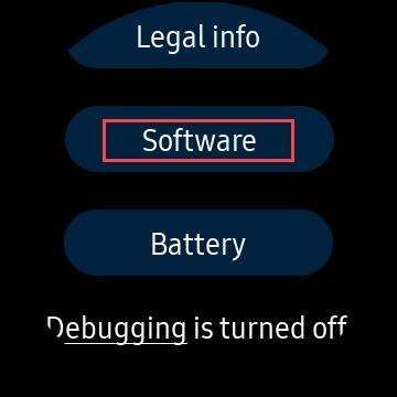 گزینه software در گلکسی اسمارت واچ