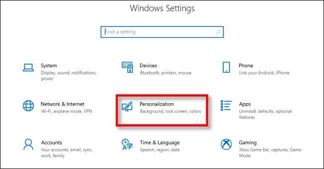 منوی Personalization در تنظیمات ویندوز