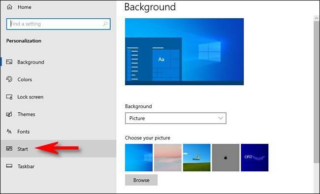 """گزینه """"start در بخش شخصی سازی تنظیمات ویندوز 10"""