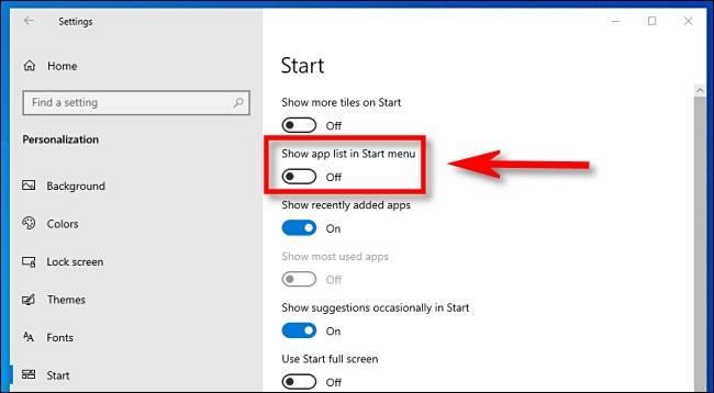 گزینه show app list in the start menu