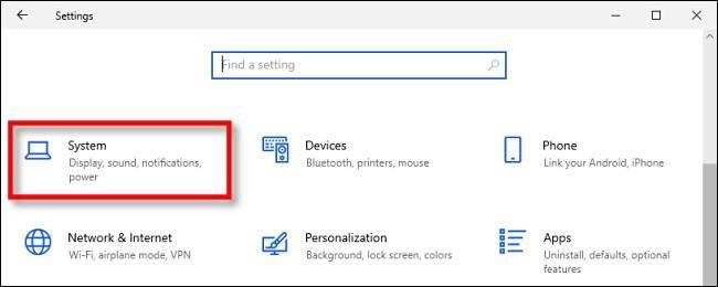 رفتن به بخش System در تنظیمات ویندوز