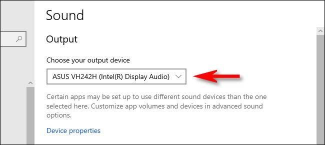 منوی Choose your output device