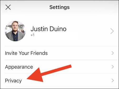 گزینه Privacy یا حریم خصوصی سیگنال