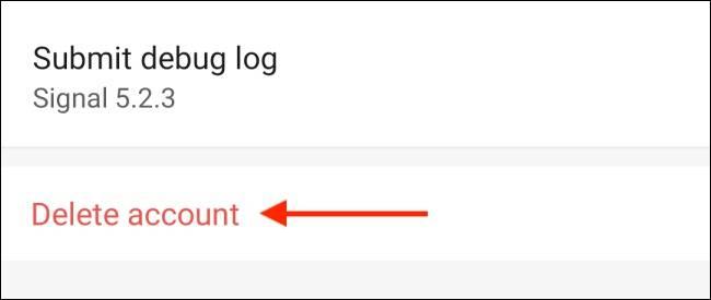 دکمه Delete Account سیگنال اندروید