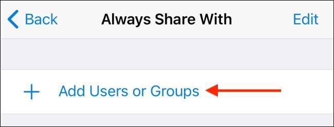 گزینه Add Users or Groups تلگرام آیفون