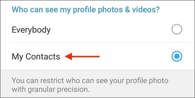 گزینه My Contacts تلگرام اندروید