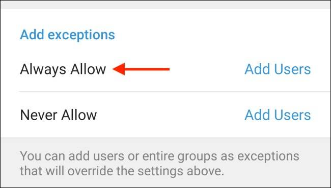گزینه Always Allow تلگرام اندروید