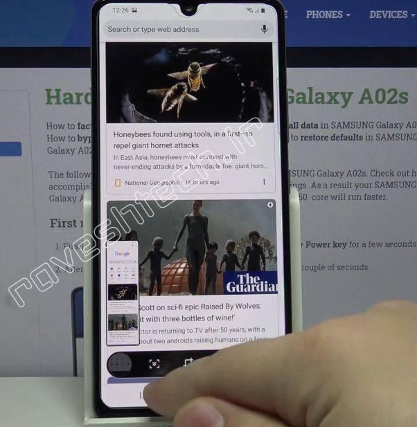 چپونه در گلکسی A02s سامسونگ اسکرین شات بلند یا پیمایشی بگیریم؟