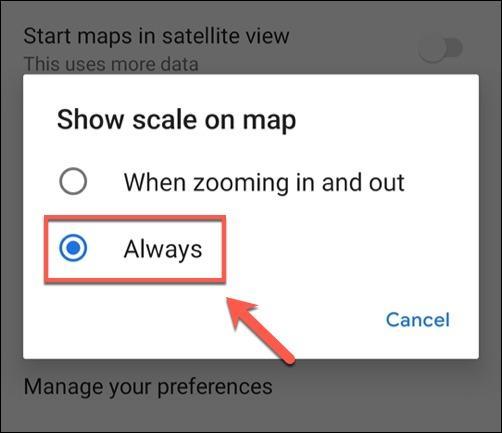 نمایش دائم مقیاس روی نقشه گوگل مپ در اندروید و آیفون و کامپیوتر