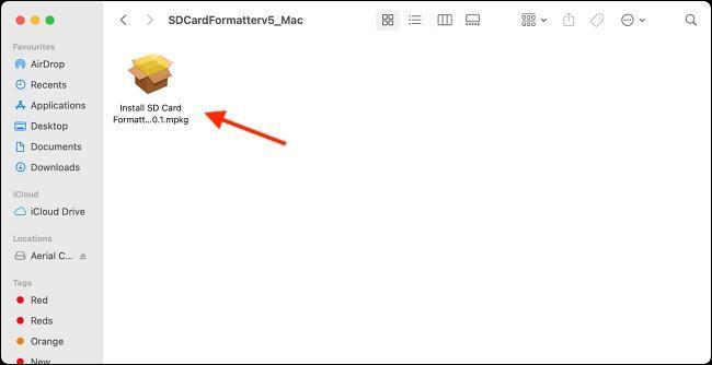 نصب SDCardFormatterv5_Mac