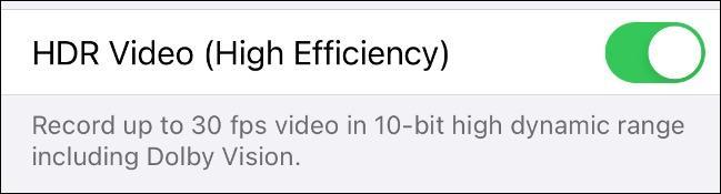 گزینه HDR Video (High Efficiency) ر