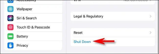 خاموش کردن آیپد از بخش تنظیمات iPadOS