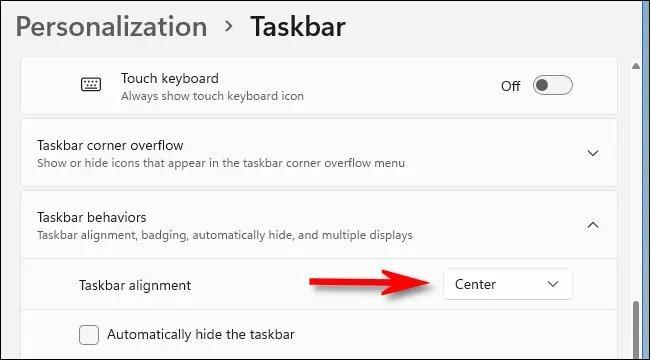 چپ چین کردن آیکون های taskbar ویندوز 11 در بخش Srttings