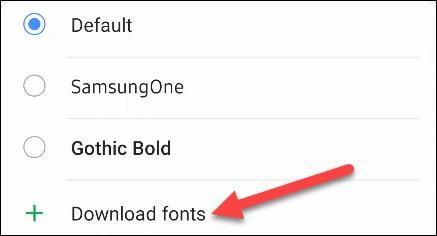 گزینه Download Fonts