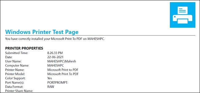 پرینت برگه آزمایشی در ویندوز 10 در بخش Control Panel